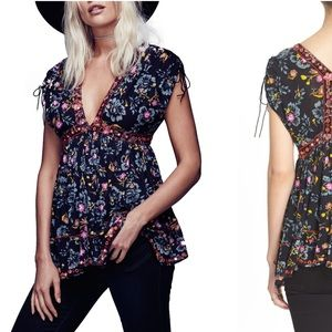 Free People Escapades Top Black Floral NWT